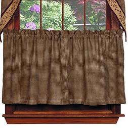 """Black Check Berry Tiers, 72""""x36"""", Country Primitive Cafe Cur"""