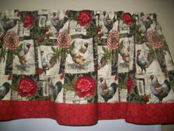 Black French Country Rooster Chicken farm kitchen fabric cur