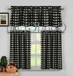 Black Gingham Checkered Plaid Kitchen Curtain Tier & Valance