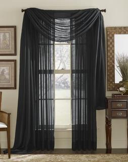 HLC.ME Black Sheer Voile Window Curtain Scarf - Valance - Fu