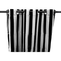 1 Piece 96 Inch Outdoor Black Stripe Gazebo Curtain, White S
