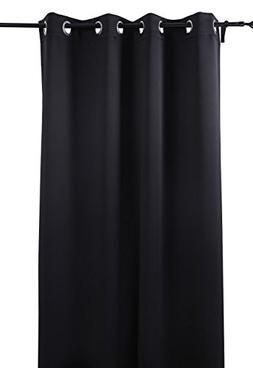 Deconovo Black Thermal Insulated Blackout Panel Curtain 52 B