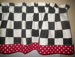 "Black White 2"" Checks Chef Coke Red Polka Dot Retro kitchen"