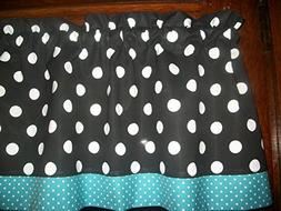 Black White Blue Polka Dot retro mid-century mod fabric kitc