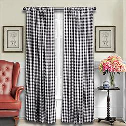 LGHome Black and White Buffalo Check Curtains Gingham Window