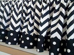 Black and White Chevron Valances with polka Dot Trim 52 Inch