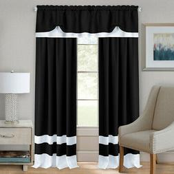 Black/White Modern Two-Tone Window Curtains Panel Tiers Kitc