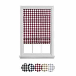 Blackout Cordless Retractable Check Plaid Gingham Taupe Wind