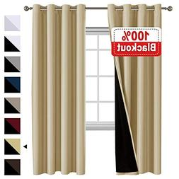 Flamingo P 100% Blackout Curtains 84 inches Long Lined Curta