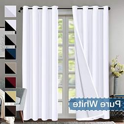Flamingo P Blackout Curtain Set, Pure White Thermal Insulate