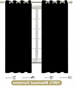 blackout curtains black for bedroom thermal insulated