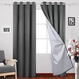Deconovo Blackout Curtains Pair with Backside Silver Window