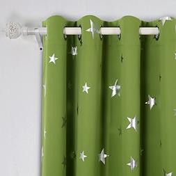 Deconovo Blackout Curtains Silver Star Print Solid Thermal I