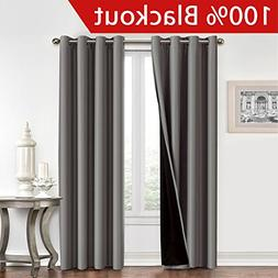 Flamingo P Full Blackout Grey Curtains Faux Silk Satin with