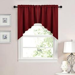 NICETOWN Blackout Kitchen Tier Curtains- Tailored Scalloped