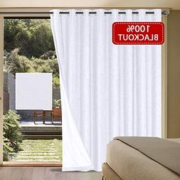 H.VERSAILTEX 100% Blackout Patio Door Linen Curtains for Sli