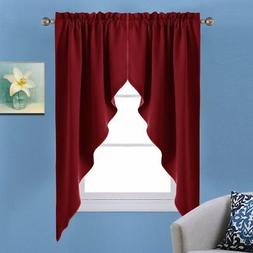 NICETOWN Blackout Rod Pocket Kitchen Tier Curtains- Tailored