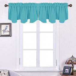 NICETOWN Window Scalloped Valances for Kitchen - Blackout Cu