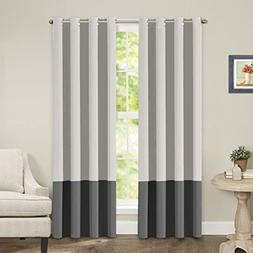 Turquoize Color Block Blackout Curtains, Light blocking, Two