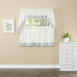 Bloom kitchen curtains swag valance tiers floral light blue