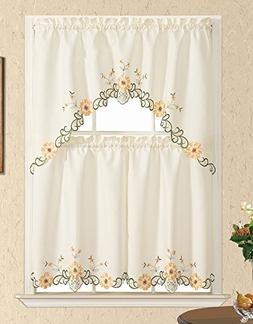 GOHD - BLOSSOMING FOR YOU. 3pcs Kitchen curtain set, Nice SU