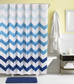 Togood Blue Chevron Fabric Shower Curtain with 12 Rings, 72x
