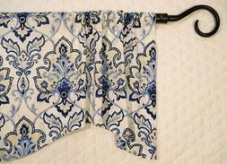 BLUE CURTAIN Valance~NAVY~White~Window Valence~Topper~Kitche