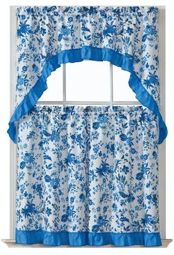 Blue Floral Complete 3 Pc. Cottage Tier & Swag Kitchen Curta