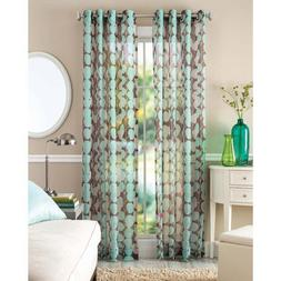 Better Home and Gardens Blue Vine Leaf Sheer Window Panel by