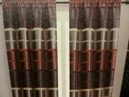 BOMBAY 2 panels burgundy taupe brown Chenille Stripe CURTAIN
