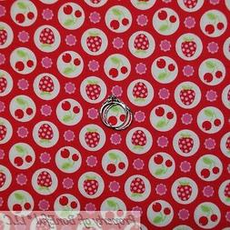 BonEful Fabric FQ Cotton Quilt Red Pink White Polka Dot Flow