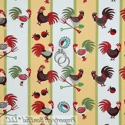 BonEful Fabric FQ Cotton Quilt Yellow Red Green Rooster Chic