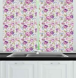 Botanical Garden Kitchen Curtains 2 Panel Set Window Drapes