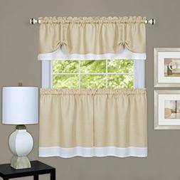 Darcy Tier and Valance Set, 24 H x 58 W, Tan/White