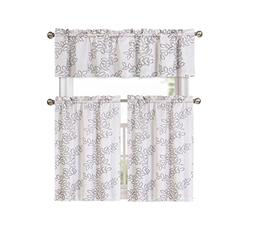 Brielle Embroidered Floral Linen Blend Kitchen Curtain Tier