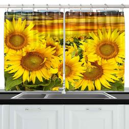 Bright Yellow Sunflowers Kitchen Curtains Window Drapes 2 Pa