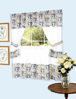 Bristol Complete Blue Floral Shabby Chic Kitchen Curtain Set