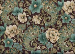 Brown and Teal Paisley Floral Gold Glitter curtain valance