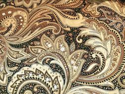 Brown Black Paisley Valance Window Curtain Topper cotton fab