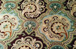 """Brown Blue Teal Gold Paisley 42""""W 15""""L Window Curtain Valanc"""
