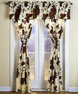 BROWN CREAM RODEO CURTAINS!!  CHOCOLATE 5 PIECE SET VALANCE