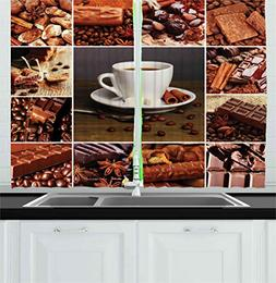 Ambesonne Brown Kitchen Curtains, Coffee and Chocolate Theme