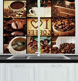 Ambesonne Brown Kitchen Curtains, I Love Coffee Theme Collag