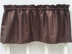 Brown Striped Jacquard Window Valance: Faux Raw Silk Texture