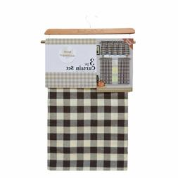 Brown White Gingham Checkered Plaid Kitchen Tier Curtain Val