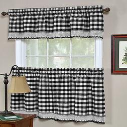 Buffalo Check Black Gingham Kitchen Curtain Window Treatment