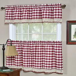 Buffalo Check Burgundy Gingham Kitchen Curtain Window Treatm