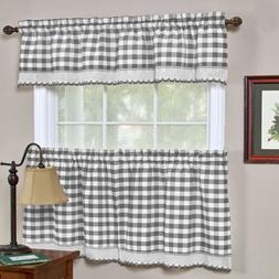 Buffalo Check Gingham Kitchen Curtains Tiers or Valance - Gr