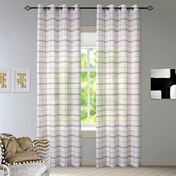 DEZENE Buffalo Checkered Sheer Curtains for Living Room Plai