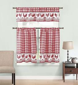 Burgundy 3 Piece Window Curtain Set: Gingham Check and Roost